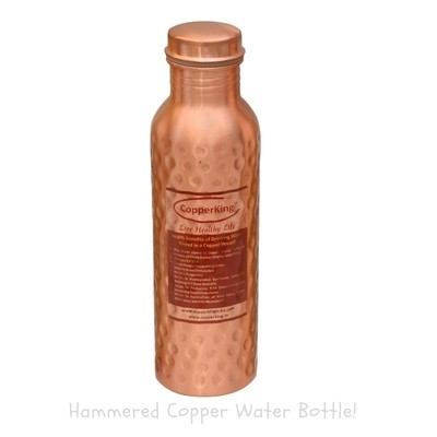 CopperKing Laquer Hammered Copper Water Bottle – 950ml