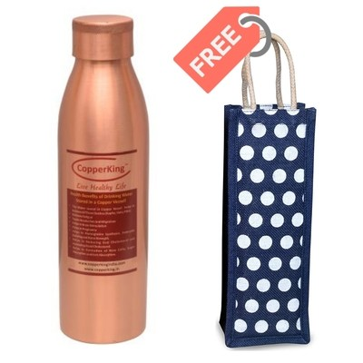 CopperKing Classic Copper Water Bottle 1000ml with Free Jute Bag
