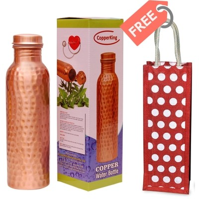 CopperKing Hammered Copper Water Bottle 950ml with Free Jute Bag