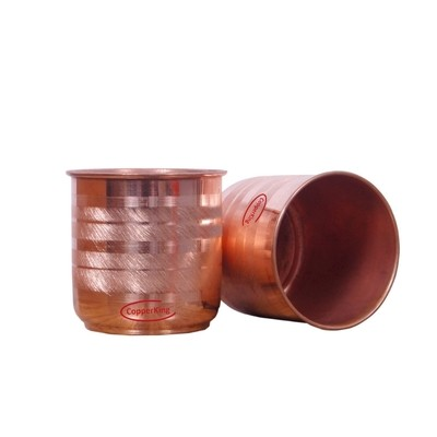 CopperKing Pure Copper Classic Touch Lota  Glass Set Of 2