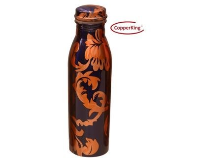 CopperKing Pure Copper Milky Printed Design Copper Water Bottle – 950ml