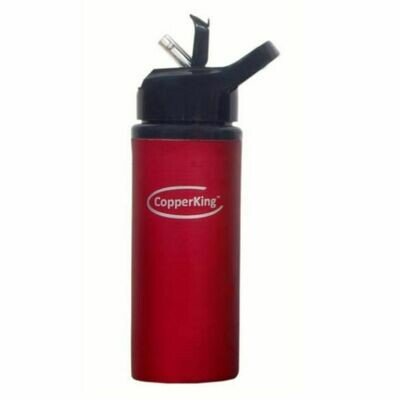 CopperKing Red Copper Sipper Water Bottle 600ml, Best For Yoga/Sports.