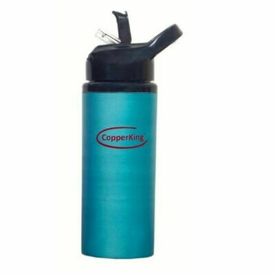 CopperKing Blue Copper Sipper Water Bottle 600ml, Best For Yoga/Sports.