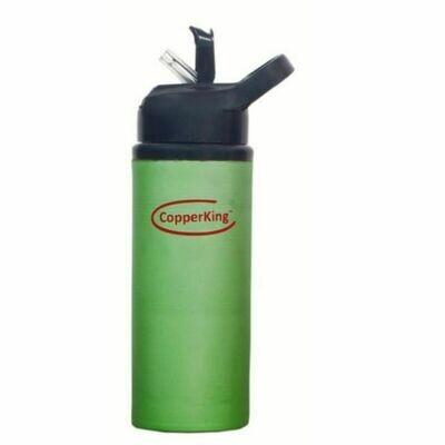 CopperKing Green Copper Sipper Water Bottle 600ml, Best For Yoga/Sports.