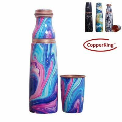 CopperKing Royal Printing Glass-Bottle Pure Copper Water Bottle 1000ml | Bottle With Glass