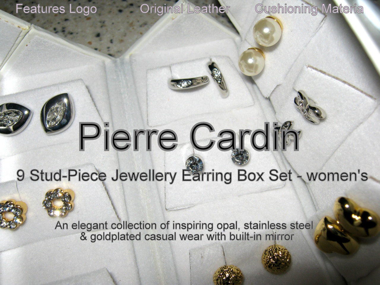 Pierre Cardin 9 Stud Piece Earring Box Set - women's