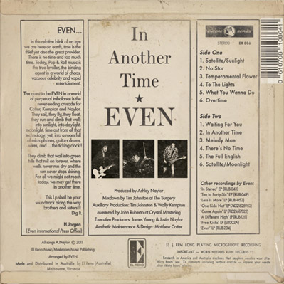 EVEN - In Another Time - CD - Unsigned w/ Bonus CD Single