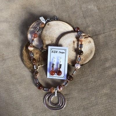 Botzawana Agate,Red Jasper & Pewter Necklace & Earring Set