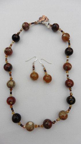 Poka Dot Agate Necklace & Earring Set