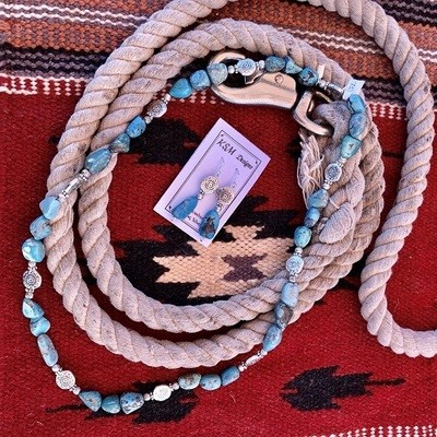 Natural Blue Turquoise & Pewter Necklace & Earring Set
