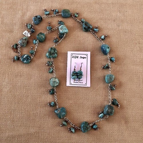 Turquoise, Pewter & Copper Necklace &Earring Set