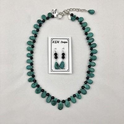 Turquoise, Onyx & Pewter Necklace & Earring Set