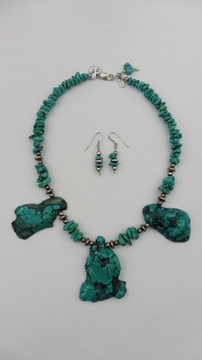 Turquoios Style Necklace & Earring Set