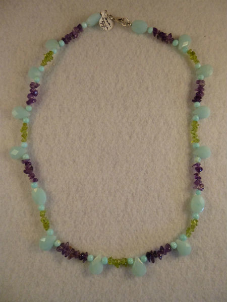 Amazonite, Amethyst & Peridot Necklace & Earring Set
