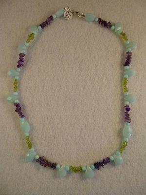 Amazonite, Amethyst & Peridot Necklace & Earring Set