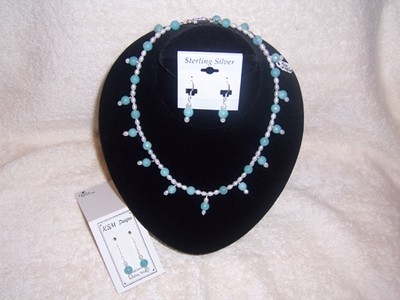 Amzonite & Freshwater Pearl Necklace & Earrings Set