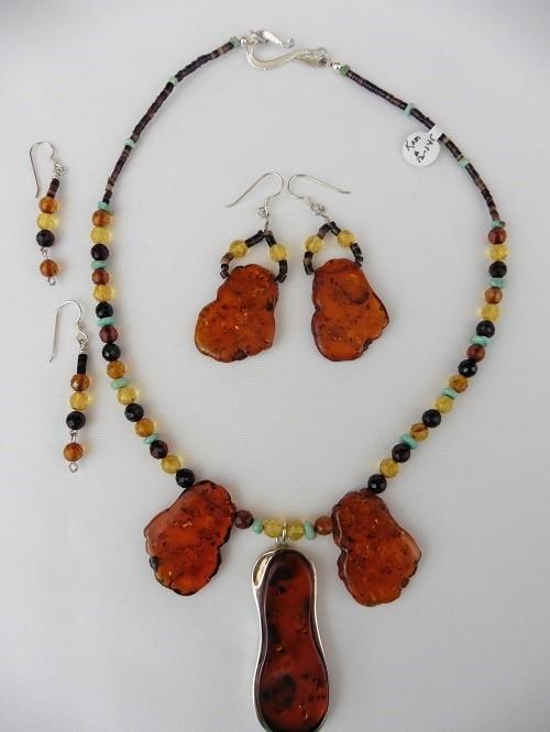 Polish Amber & Turquoise Necklace & Earring Set
