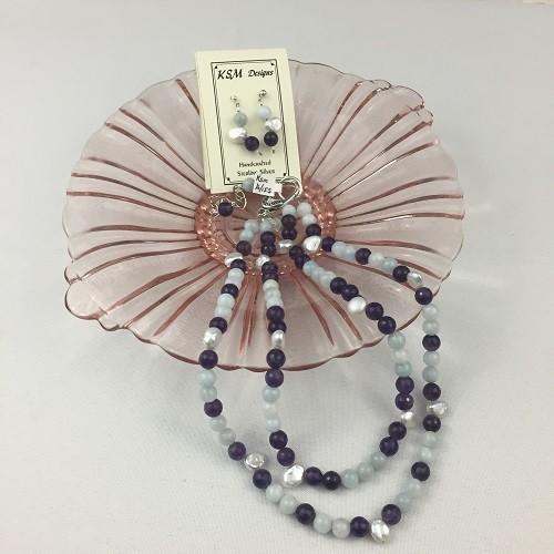Amethyst, Aquamarine & Freshwater Pearl Necklace & Earring set