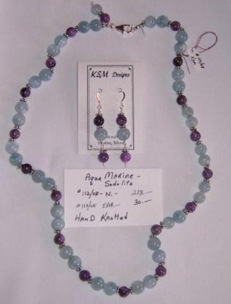 Aquamarine & Sodolite Necklace & Earring Set