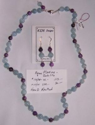 Aquamarine & Sodolite Necklace & Earring Set