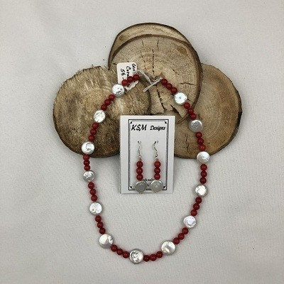 Coral & Coin Pearl Necklace & Earring Set