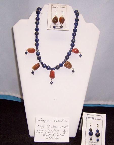 Cornelian & Lapis Necklace & Earring Set