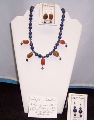 Cornelian & Lapis Necklace & Earring Set