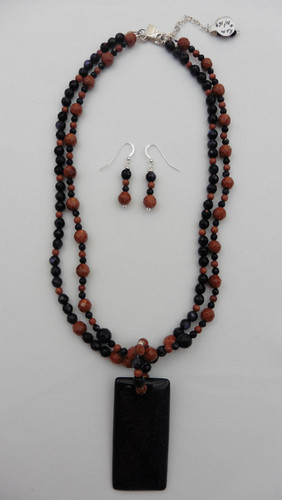 Blue & Brown Gold Stone Necklace & Earring Set