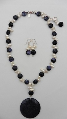 Blue Gold Stone & Freshwater Pearl Necklace & Earring Set
