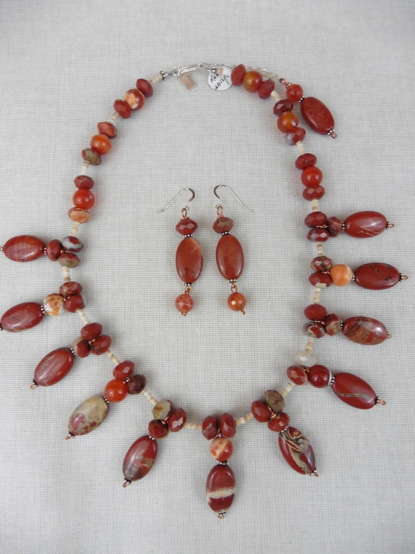 Red Jasper & Fire Agate Necklace & Earring Set