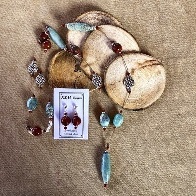 Red Creek Jasper & Agate Necklace & Earring Set