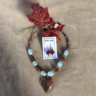 Red Creek Jasper & Agate Necklace & Earring Set