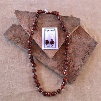 Red Creek Jasper & Pewter Necklace & Earring Set