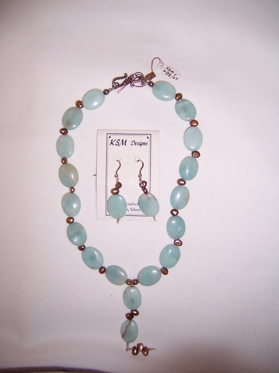 Amazonite & Freshwater Pearl Necklace & Earring set