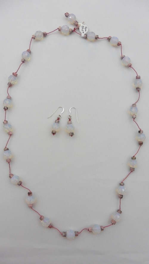 Rhodochrosite & Lab Opals Necklace & Earring Set