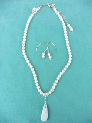Feshwater Pearls & Larimar Necklace & Earring Set