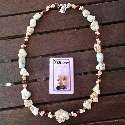 Magnesite & Tiger's Eye Necklace & Earring Seg