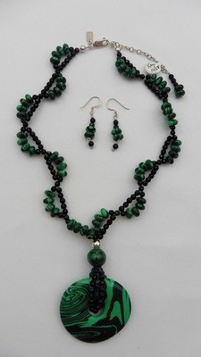 Malachite & Onyx Necklace & Earring Set