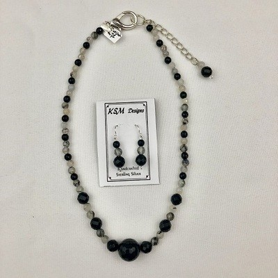 Rutilated Quartz & Onyx Necklace Set