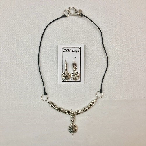 Pewter Necklace & Earring Set on Rattail Cording