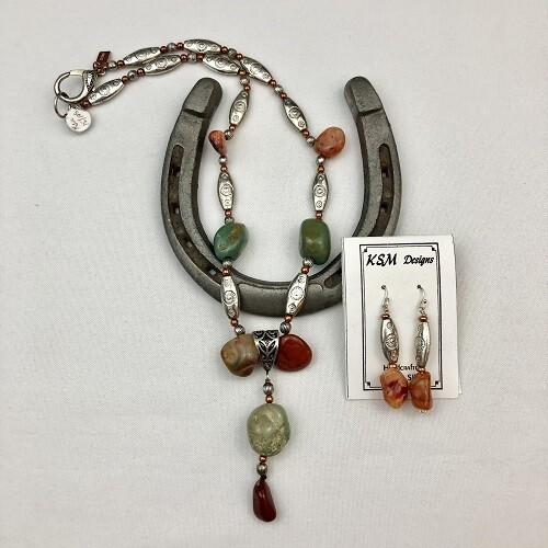 Cornelian, Turquoise, Copper, Pewter Necklace Set