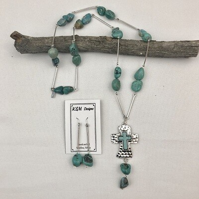 Natral Blue Turquoise Necklace & Earring Set