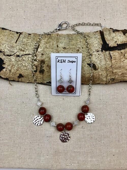 Red Jasper Necklace & Earring Set