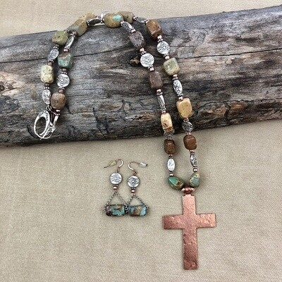 Natural Turquoise, Pewter & Copper Necklaces & Earring Set
