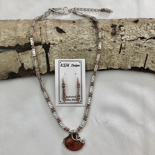 Polish Amber, Pewter & Copper Necklace Set