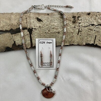 Polish Amber, Pewter & Copper Necklace Set