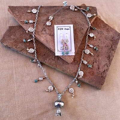 Natural Turquoise, Copper & Pewter Necklace Set