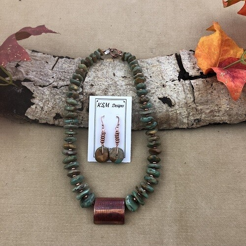 Natural Graduated Turquoise & Copper Necklace & Earring Set