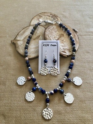 Sodalite & Pewter Necklace & Earring Set
