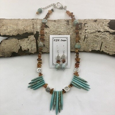 Polish Amber, flux Turquoise & Pewter Necklace & Earring Set